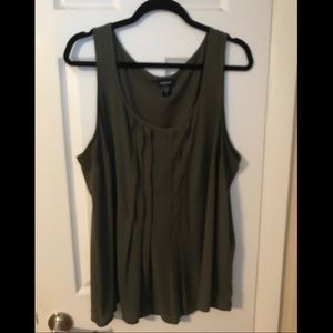 Olive green pleated front tank. Torrid size 2